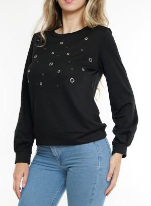 Long sleeves ring-detail front Sweatshirt. LDTC-G21432H-Black