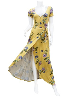 Short sleeves- tie-waist tulip-front floral maxi dress. LF0578I90-MUSTARD