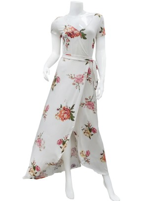 Short sleeves- tie-waist tulip-front floral maxi dress. LF0578I90-WHITE
