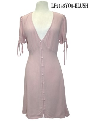 Tie-sleeves button-down front dress. LF2143YO8 Blush