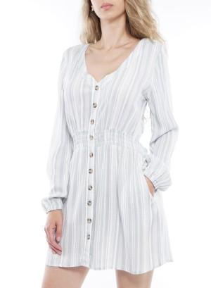 LS Smock Waist Side Pockets Button Down Dress M0032A-Sage/White