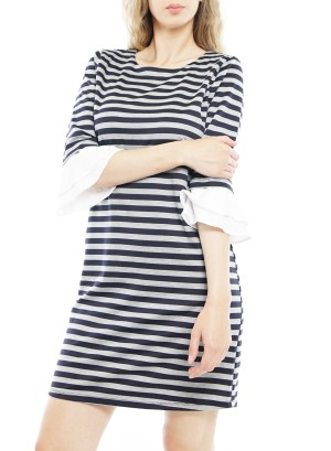 Layered Flare 3/4 Sleeves Stripe Dress. MDW7K13C-Navy/White