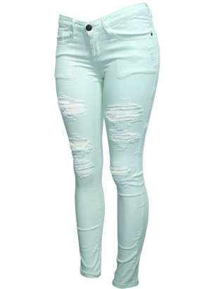 Distressed Skinny Pants. DMP-2A4184-Mint
