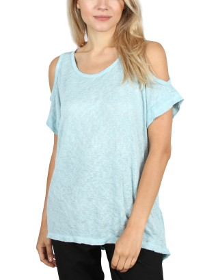 OPEN SHOULDER SHORT SLEEVE TOP. MT7868-BLUE