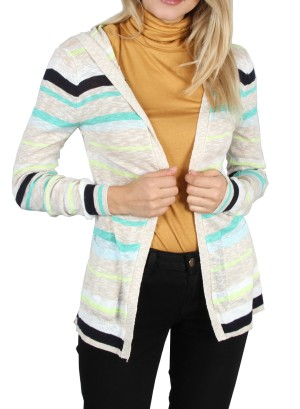 Hooded Striped Open Cardigan. HC112018-Multicolor