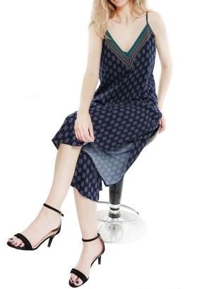 Spaghetti straps V-neckline, slit-sides floral printed jumpsuit. J10808VAZQ-Navy Floral