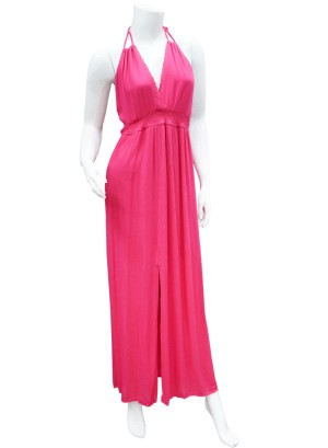Halter empire waist mid slit dress. ND4033S-FUCHSIA