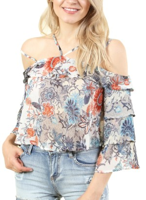 Women's strapped off shoulder top with ruffled sleeves. FH-NT024648-MULTICOLOR