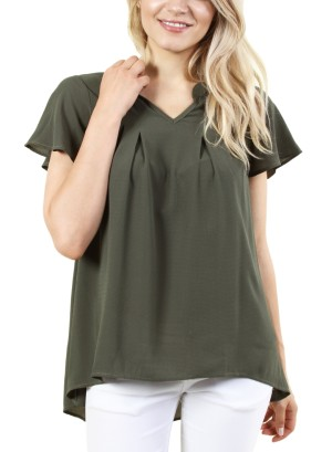 Women's short sleeve v-neck top. FH-DT1837P-OLIVE