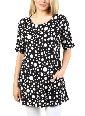 S/SLEEVE 2-POCKET SHIFT DRESS. FH-ATP2242HC-BLACK/WHITE