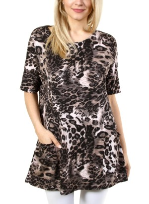 S/SLEEVE 2-POCKET ANIMAL PRINT SHIFT DRESS. FH-ATP2242HC-BROWN/BLACK