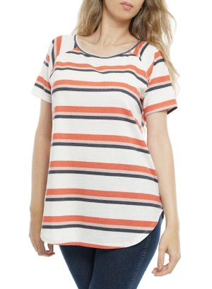Short Sleeves Cut-Out Back StripeTop P1278A-Ivory/Coral