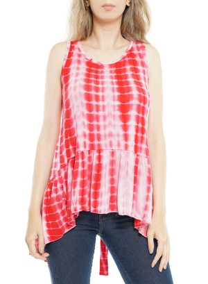 Sleeveless Open Tie-Back Knot, Tie-Dye Top  P1641-Red