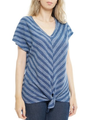 Short sleeves V neck Tie-front Knot Top. P1708- Navy
