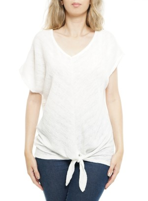 Short sleeves V neck Tie-front Knot Top. P1708-White
