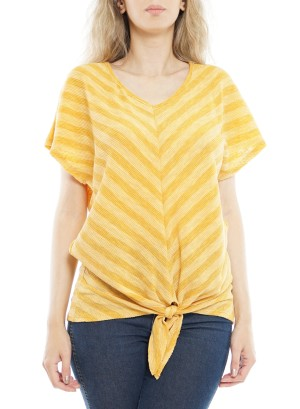 Short sleeves V neck Tie-front Knot Top. P1708-Gold