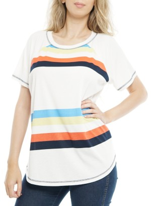 Short Sleeves Round Neck StripeTop P1792A-Ivory/Orange