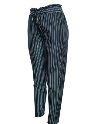 Drawstring banded waistline 2-pocket stripe pants. P9820-STRIPED PANTS
