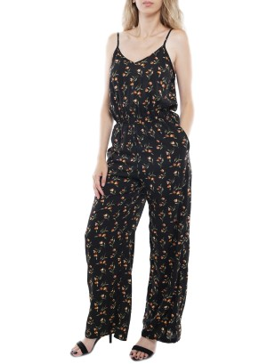 Adjustable Spaghetti Straps Side Pockets Floral Jumpsuit. PBBZ748-Black