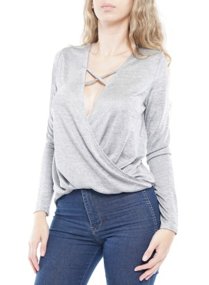 Long Sleeve Criss-Cross Open-Front Top. PFTK8472-Grey