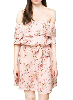 Ruffled Off-shoulder tie-waist floral fully lined dress. AD02659-Pink Floral