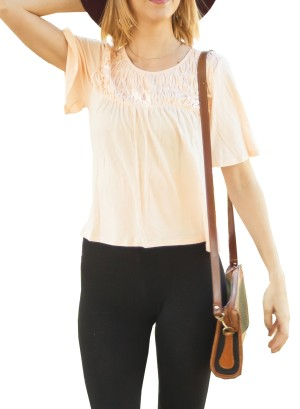 Short flare-sleeves partially hi-low with Lattice-detail front top. 0013-Pink