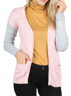 Two-side pockets, Contrast sleeves open cardigan. PC112018-PINK GRAY