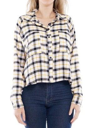 Long Sleeve front short back long Button-Down  Plaid Top  7AST2WF013-Ivory-Yellow