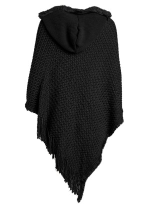 Hooded Knit Plus Size Poncho with Cable Detail and Fringes- Accented V-Cut Hemline NW-B14707X-BLACK