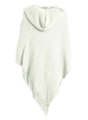 Hooded Knit Plus Size Poncho with Cable Detail and Fringes- Accented V-Cut Hemline NW-B14707X-IVORY