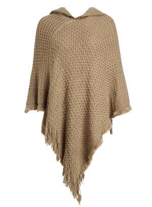 Hooded Knit Plus Size Poncho with Cable Detail and Fringes- Accented V-Cut Hemline NW-B14707X-TAUPE