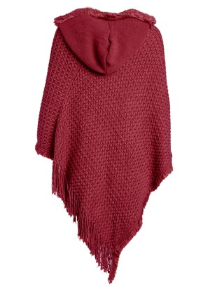 Hooded Knit Plus Size Poncho with Cable Detail and Fringes- Accented V-Cut Hemline NW-B14707X-WINE