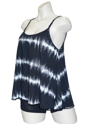 Spaghetti straps crochet-trim tie dye swing top. PST2543- BLACK TIE DYE