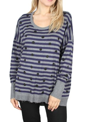 Long Sleeves Polka Dot/Stripe  Sweatshirt. LC-139852-Grey/Navy Black