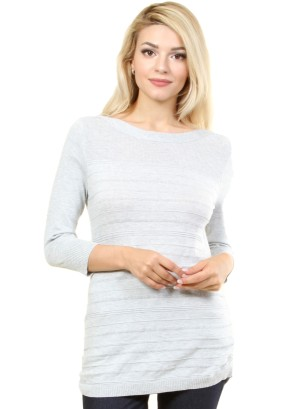 3/4 sleeves round neck, with striped patterns in torso area. WH-R5413-HEATHER/GREY