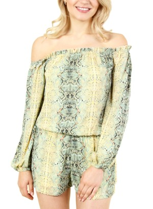 WOMEN'S OFF SHOULDER LONG SLEEVE ROMPER WITH SNAKESKIN PATTERN. FH-CG1275-GREEN