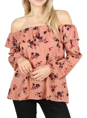 Long Sleeves Ruffled-Off-Shoulder Floral with lurex striped detail top. JTF7W47H-Rustfloral