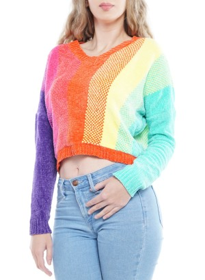 Rainbow Long Sleeve V-Neck Crop Top. S71428A38-Multi