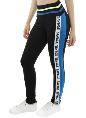 "Banded waistline ""Savage"" print stripe-side active leggings. 45184R21C-Black-Blue"