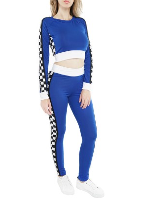 Banded White-solid trim waistline,  long sleeves top featuring a checkered-side contrast Active sets. 45130R21C-Royal blue