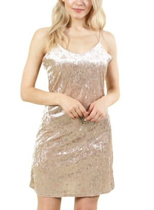 Women's sleeveless silk dress. FH-DR12275-GOLD