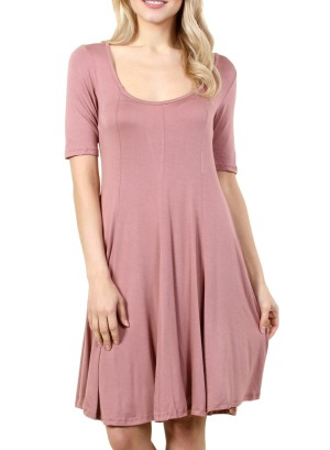 Women's half-sleeved dress with round neck collar. FH-PSJ1202-MAUVE