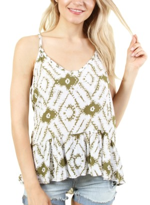 Women's printed sleeveless tank top. FH-T16875-WHITE