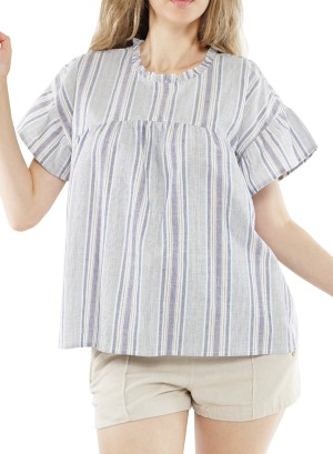 Ruffled sleeves cut out back stripe top. J73473CEGN-Blue/White