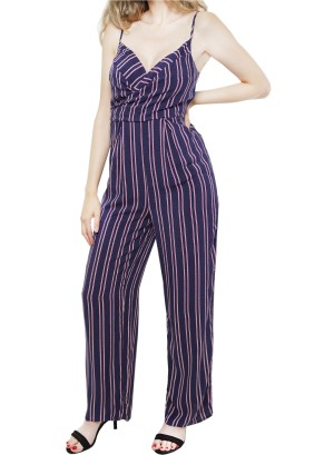 Spaghetti straps surplice-front stripe jumpsuit. 26S2173NTL-NAVY PINK