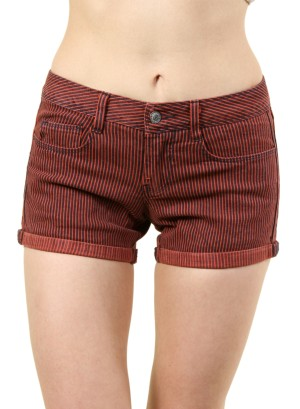 WOMEN'S STRIPED SHORT SHORTS. FH-GEO885OOST-CAYENNE