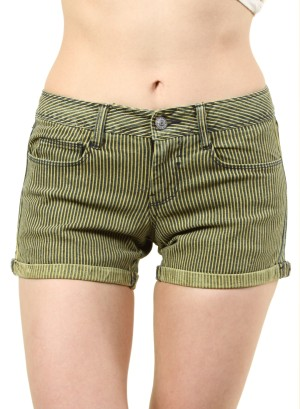 WOMEN'S STRIPED SHORT SHORTS. FH-GEO885OOST-YELLOW