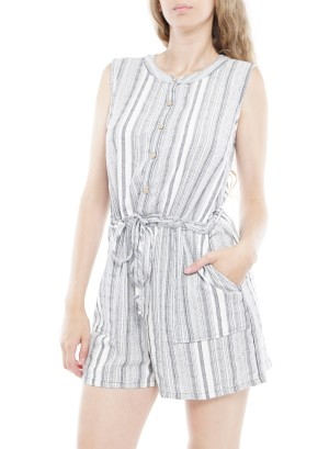 Sleeveless Button-Down Side-Pockets Drawstring-Waist Stripe Romper.  013090502-Grey/White