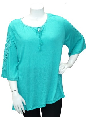 Crochet-detail flutter  sleeves printed Plus size top.286A-AQUA