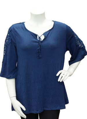 Crochet-detail flutter  sleeves printed Plus size top.286A-NAVY